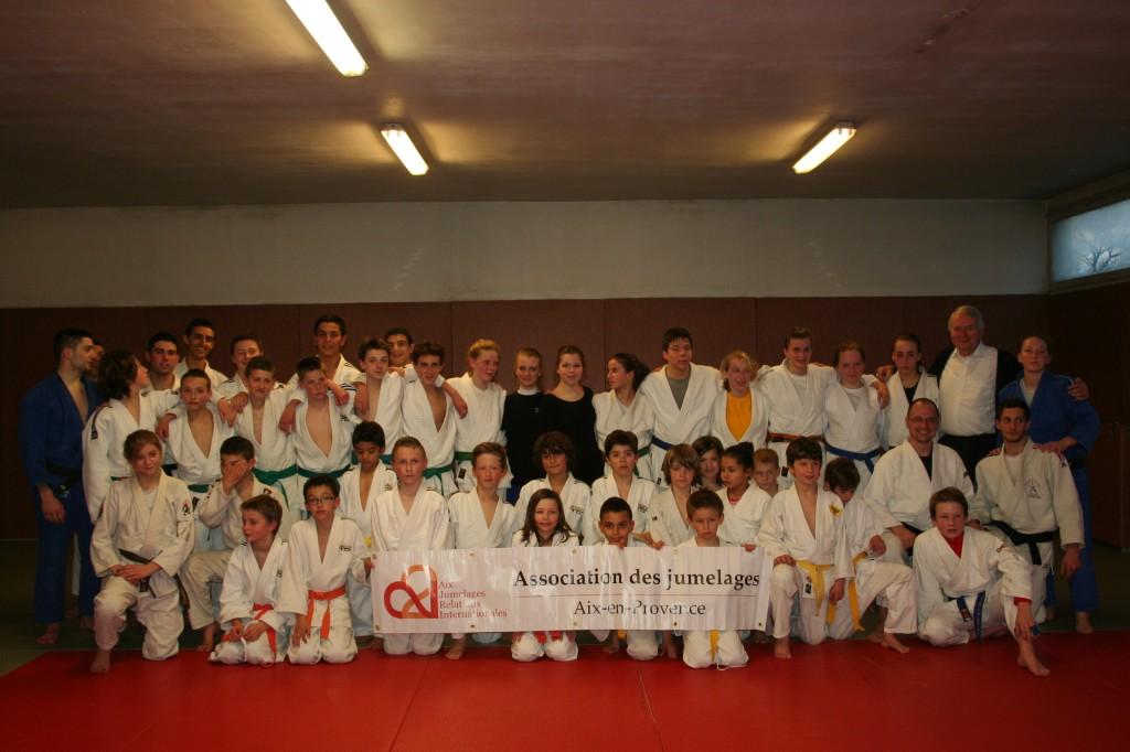 Le groupe des Judokas de Tübingen sur le tatamis