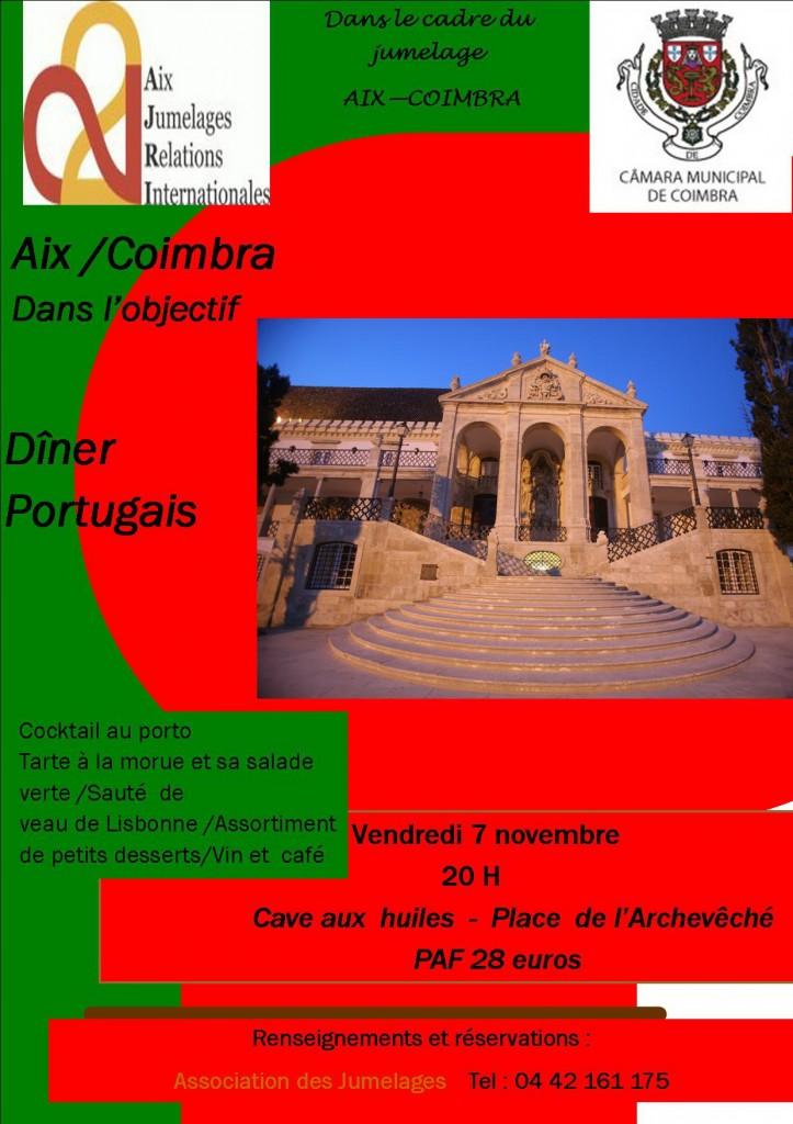 Affiche repas Aix-Coimbra -Dans l'objectif