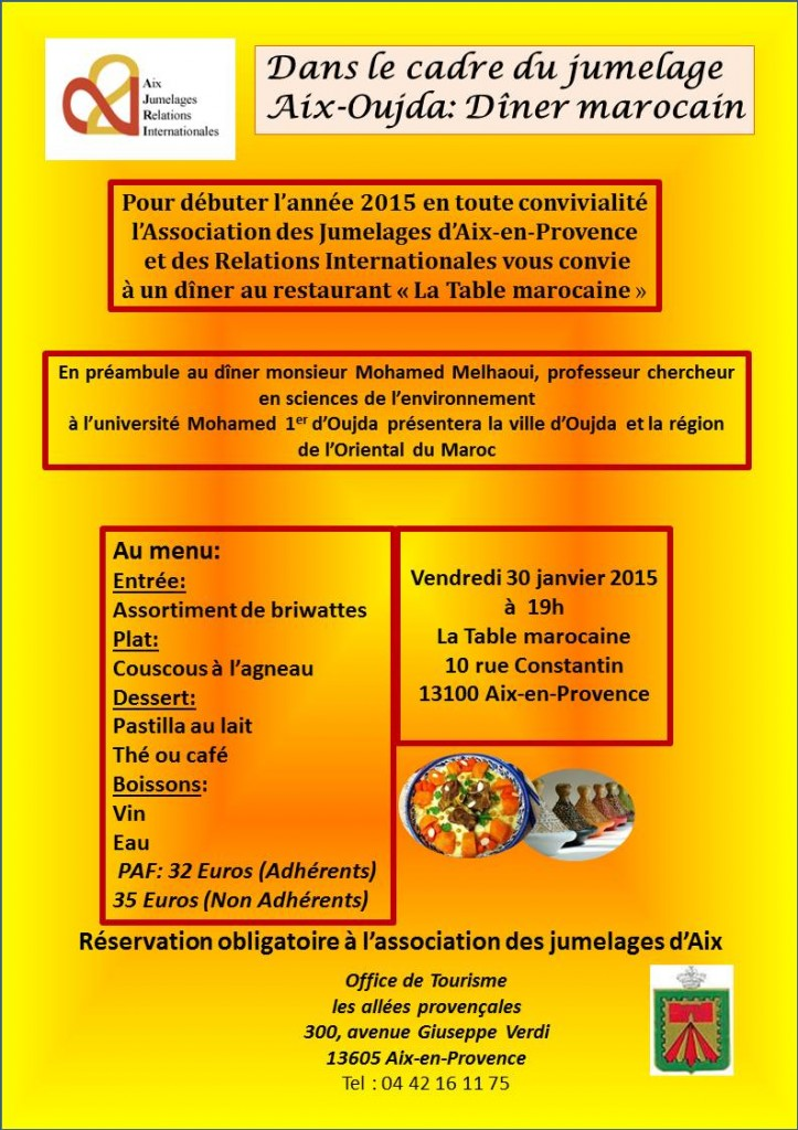 Association Aix Jumelages D Ner Marocain La Table Marocaine