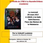 affiche_conférence_la révolte de 1768 à la Nouvelle-Orléans (Louisiane)_2017_03_29