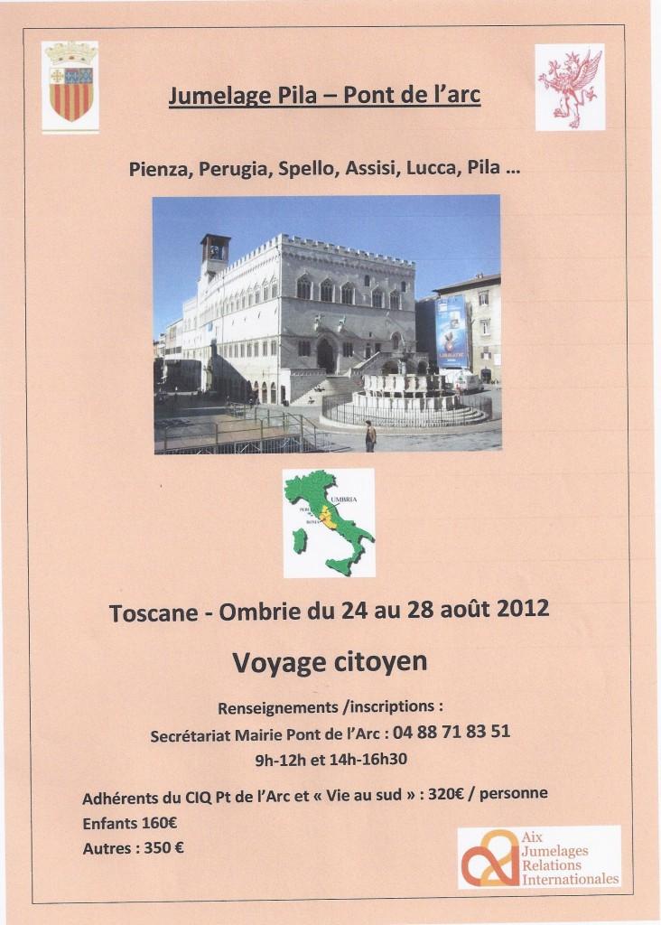 Affiche voyage de retour - échange Pont de l'Arc-Pila (Pérouse)