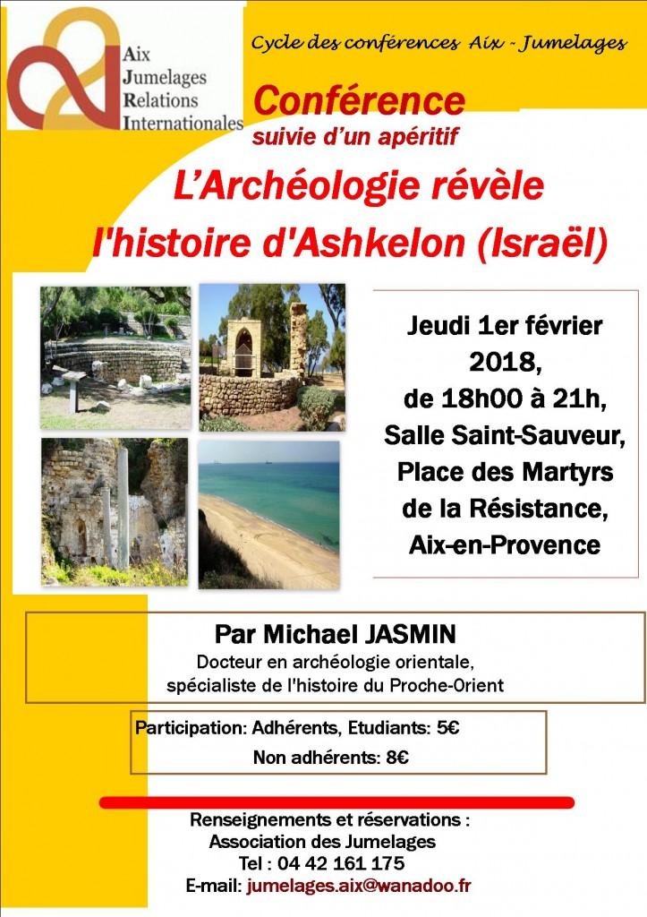 affiche_conférence_l'Archéologie révèle l'histoire d'Ashkelon (Israël)